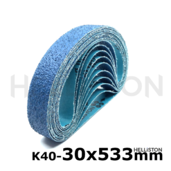 Sand belts, sand belt 30 x 533 mm, blue, K40, P40, ZO Zirconum, Makita: 9031 Fein: RS 10-70E Flex: LBS 1105 VE, LBS 1105 VE Set Metabo: RBE 9-60, RB 18 LTX 60 Suhner: UTC 7-R